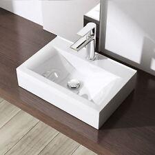 Durovin Bathroom White 45cm x 31cm Ceramic Wall Hung Counter Top Mount Basin