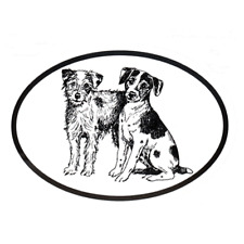 Dog Breed Oval Vinyl Car Decal Black & White Sticker Jack Russell Terrier Parson