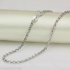 New 20INCH 18K White Gold Necklace 2mm ROLO Link Chain Necklace Au750