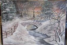 Tableau Peinture paysage soirée enneigée acrylique sur toile 69cm x 49,5 cm