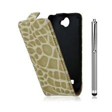 Housse étui coque style crocodile pour Galaxy W i8150 + stylet luxe