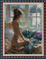 "Original Oil Painting art female Impressionism nude girl on canvas 30""x40"""