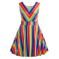 Women Vintage Plus Size Rainbow Printed Sleeveless A-Line Camis Short Mini Dress