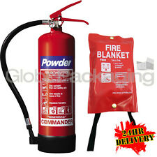 4KG POWDER FIRE EXTINGUISHER CE MARKED INDUSTRIAL USE + FIRE BLANKET 1M X 1M