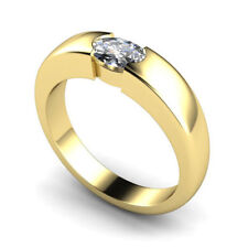 Very Good Cut Natural Oval Yellow Gold Fine Diamond Rings