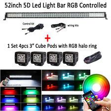 "52 Inch 5D CREE Led Light Bar RGB Strobe Rock Bluetooth + 4x 3"" Halo Ring Pods"