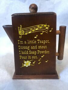 "Vtg. Wooden Teapot Soap Powder Dispenser ""I'm A Little Teapot... "" 60's"