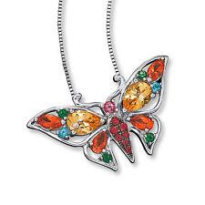 NUEVO Plata de Ley Original Multicolor Topacio Mariposa 45.7cm Collar