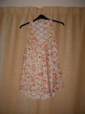 SLEEVELESS SEE THROUGH FLORAL TOP BY RIVER ISLAND SIZE 14
