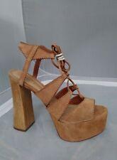 Schutz Suza New Nozes Tan Suede Cut Out Lace Up Platform Wood Heel Sandal Heels