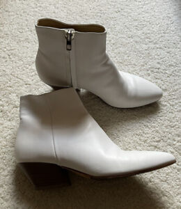 Vince White Leather Zip Ankle Boots Size 37.5/7.5