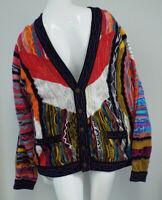 Vintage COOGI Men's Button Cardigan Sweater Size Large COLORFUL Pink Blue Yellow
