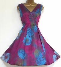 MONSOON ✩ STUNNING FAYE FLORAL FIT 'N' FLARE SILK SUMMER COCKTAIL DRESS ✩ UK 12