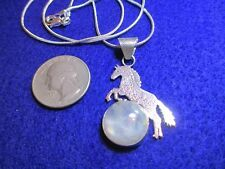 "Rare Blue Rainbow Moonstone Sterling Silver Horse 18"" Necklace New Free Gift Box"