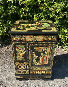 Vintage Hand Painted Oriental Style Cabinet