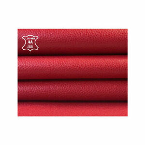 RED textured leather skin Natural red lambskin leather RASPBERRY RED 843, 2.75oz