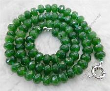 """Dark Green 5x8mm Emerald Faceted Roundel Beads Necklace 18"""" AA"""