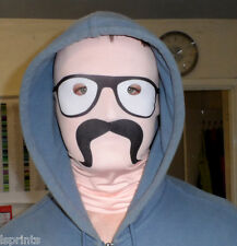 MOUSTACHE & GLASSES FUN FABRIC FACE MASK FANCY DRESS PARTY STAG HEN PARTY ITEM