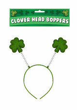 GREEN IRISH CLOVER SHAMROCK LEAF HEAD BOPPER  ST PATRICKS DAY FANCY DRESS.