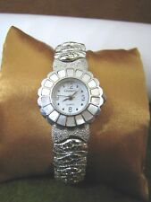 THICK GRAMMERCY HINGED CUFF WRIST-WATCH MOTHER OF PEARL BEZEL RUNS SILVER TONE