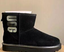 UGG Classic Mini Rubber UGG Logo Black Size 7 Metallic Suede Boots Women 1110087