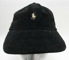 Vintage 90's Polo Ralph Lauren Corduroy Hat Black Leather Strap New without Tag