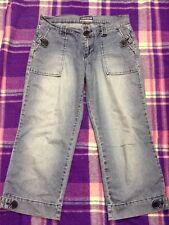 Ladies Jay jays Lightweight Sz 8-10 Cropped Sailor Wide Leg Denim Jeans Pants