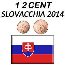 1 + 2 CENT 2014 SLOVACCHIA SLOWAKEI ESLOVAQUIA SLOVAQUIE SLOVAKIA FDC UNC