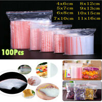100pcs Clear Reclosable Zip Lock Plastic Storage Bags Poly Bag Jewelry Bags S-O