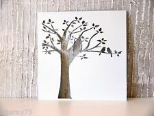 WALL ART DECOR love birds on tree metal cut out  NEW white  really lovely