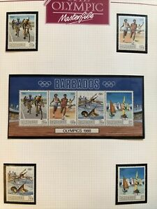 1988 Seoul OLYMPIC GAMES Barbados Team Stamps MINT