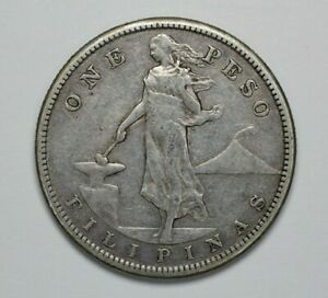 1908-S Philippines Silver Peso WT: 20gm .800 Silver KM 172 Circ - 191362A