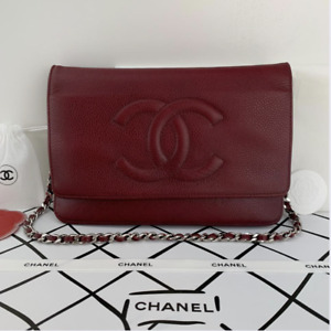 CHANEL Caviar Leather with Silver Hardware WOC in Maroon