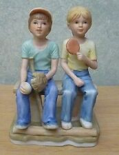 ENESCO Boy Ready to play baseball ~ Girl holding Ice Cream sitting on bench 1980