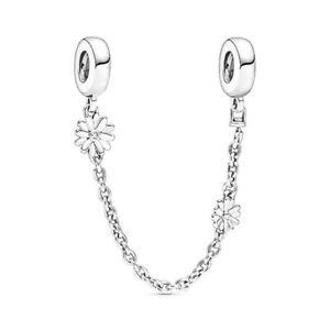 Pandora Daisy Flower 925 Sterling Silver Bracelet Safety Chain Charm