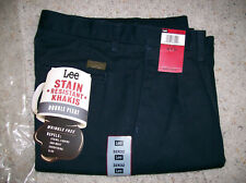 Lee Stain Resistant Double Pleated Khakis 32 x 32 (Midnight Blue)
