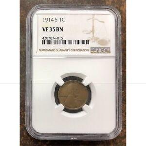 1914 S Lincoln Cent NGC VF35 BN *Rev Tye's* #401548