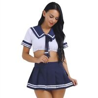 Women School Girl Student Sailor Costume Outfit Uniform Cute Cosplay Fancy Dress