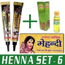 Henna-Set 6 (2x Golecha Henna Tuben SCHWARZ & ROT + Henna Öl + Vorlagenheft)