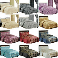 3 Piece Quilted Heavy Jacquard Bedspread Comforter Set Throw Bedding Set
