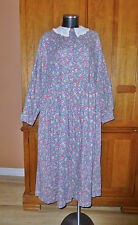 LAURA ASHLEY DRESS Vtg Wool Cotton Floral Lace Collar Prairie BOHO UK 16 US 14