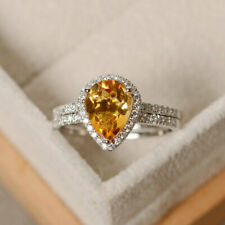 14K Solid White Gold Diamond Rings 2.35 Ct Pear Citrine Wedding Band Sets Size N