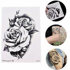 Flash Einmal Temporary Klebe Tattoo Rose Schwarz Weiß Körper Body Geschenk
