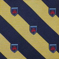 BROOKS BROTHERS Mens Yellow Navy HERALDIC STRIPE Woven Silk Tie USA NWT