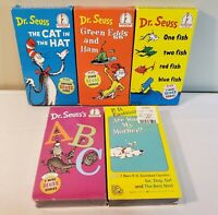 Vtg Dr. Seuss VHS Lot - Cat In Hat, Green Eggs & Ham, One Fish Two Fish, 2 R NEW