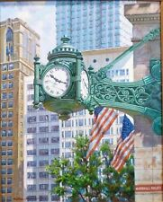 Marshall Fields Clock Chicago Oil on Canvas Original by Walter Monastyretsky