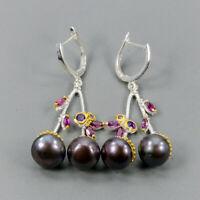 Pearl Earrings Silver 925 Sterling Vintage SET  /E38583