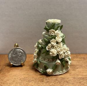 Vintage Artisan C BEAM 4 Tier Mint & White Rose Cake Dollhouse Miniature 1:12
