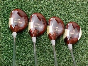 """- 1"""" PERSIMMON Wood Kenneth Smith Hand Made RH Golf Clubs Set 2 3 4 5 w Leather"""