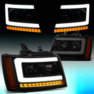 FOR 2007-2014 TAHOE SUBURBAN LED DRL+SEQUENTIAL TURN SIGNAL PROJECTOR HEADLIGHT